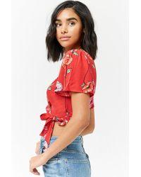 Forever 21 - Red Floral Tie-hem Crop Top - Lyst