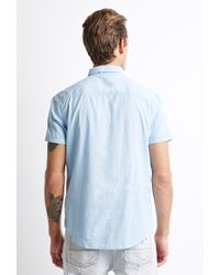 Forever 21 - Blue Textured Pocket Shirt for Men - Lyst