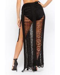 Forever 21 - Black Women's Ladder Cut Maxi Skirt - Lyst