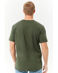 Forever 21 - Green 's Rolled-trim Knit Tee for Men - Lyst