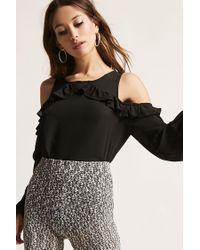 Forever 21 - Black Open-shoulder Ruffle Top - Lyst