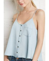 Forever 21 - Blue Button-front Chambray Cami - Lyst