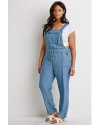 96f4a279cfa Lyst - Forever 21 Plus Size Chambray Overalls in Blue