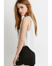 Forever 21 - Blue Denim Pocket Shirt - Lyst