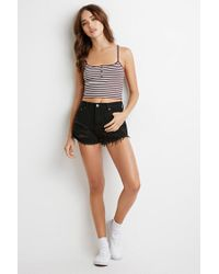 Forever 21 - Purple Ribbed Knit Stripe Cropped Cami - Lyst