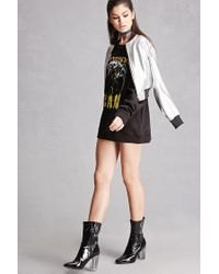 Forever 21 | Black Faux Patent Leather Sock Boots | Lyst