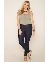 Forever 21 | Blue Plus Size Everyday Skinny Jeans (regular) | Lyst