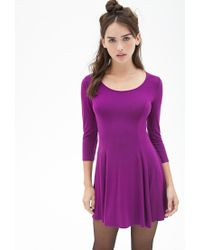 Forever 21 - Purple Knit Skater Dress - Lyst