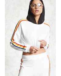 Forever 21 - White Cropped Stripe Sweatshirt - Lyst