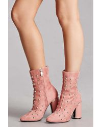 Forever 21 - Multicolor Studded Faux Suede Boots - Lyst