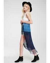 Forever 21 | Blue Colorblocked Longline Vest | Lyst
