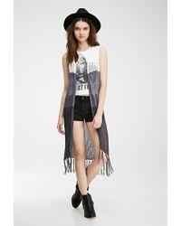 Forever 21 | Natural Colorblocked Longline Vest | Lyst
