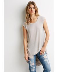 Forever 21 | Natural Contemporary High-low Longline Tee | Lyst