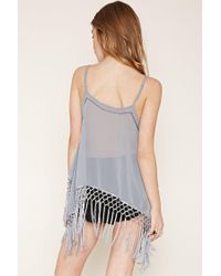 Forever 21 - Gray Sequined Fringe Cami - Lyst