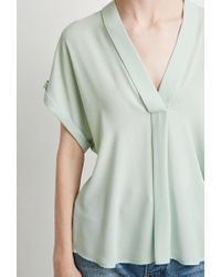 Forever 21 - Green Contemporary V-neck Shawl Collar Blouse - Lyst