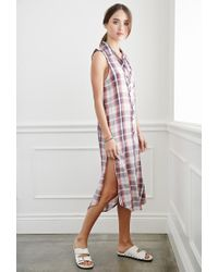 Forever 21 | Pink Plaid Midi Dress | Lyst