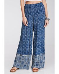 Forever 21 - Blue Floral Print Wide-leg Pants - Lyst