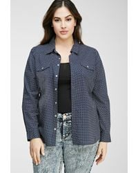 Forever 21 - Blue Plus Size Polka Dot Shirt - Lyst