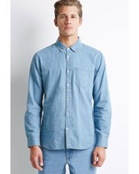 Forever 21   Blue Button-collar Chambray Shirt You've Been Added To The Waitlist for Men   Lyst