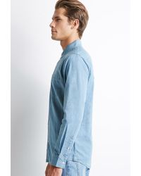 Forever 21 - Blue Button-collar Chambray Shirt for Men - Lyst