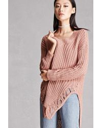 Forever 21 | Purple Distressed Vented-hem Sweater | Lyst