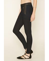 Forever 21 - Black Contemporary Paneled Skinny Jeans - Lyst