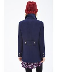 Forever 21 - Blue Double-breasted Coat - Lyst