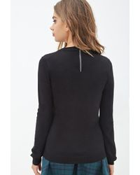 Forever 21 | Black Zippered Crew Neck Sweater | Lyst