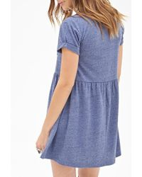 Forever 21 - Blue Heathered Pocket Babydoll Dress You've Been Added To The Waitlist - Lyst