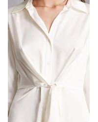 Forever 21 White Satin Tie-front Dress