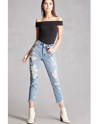 Forever 21   Blue Distressed Mid-rise Jeans   Lyst