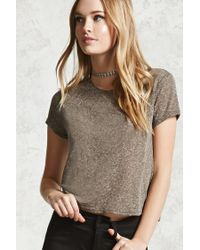 Forever 21 | Green Heathered Crew Neck Tee | Lyst