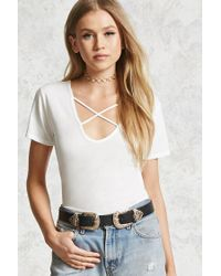 Forever 21 | Multicolor Crisscross-front Tee | Lyst