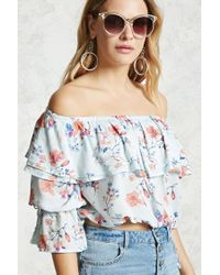 Forever 21 - Blue Off-the-shoulder Peasant Top - Lyst