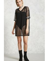 Forever 21 - Black Sheer Mesh T-shirt Dress - Lyst
