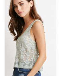 Forever 21 - Green Embroidered Mesh Top - Lyst