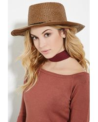 Forever 21 | Brown Straw Boater Hat | Lyst
