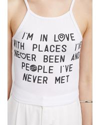 Forever 21 - White In Love Crop Top - Lyst