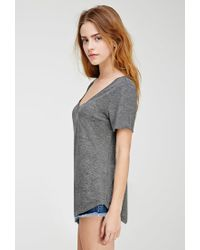 Forever 21 - Gray V-neck Pocket Tee - Lyst