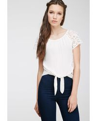 Forever 21 | Natural Lace Paneled Top | Lyst