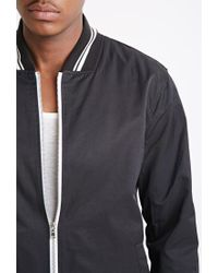 Forever 21 - Black Varsity-striped Baseball Jacket for Men - Lyst