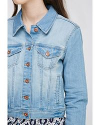 Forever 21 - Blue Faded Denim Jacket - Lyst
