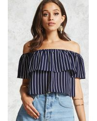 Forever 21 | Blue Striped Off-the-shoulder Top | Lyst