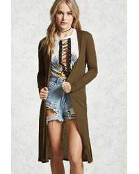 Forever 21 Wide Ribbed Longline Cardigan in Green | Lyst
