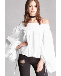 Forever 21 | White Pintucked Off-the-shoulder Top | Lyst