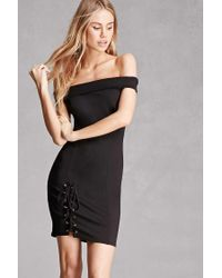 Forever 21   Black Off-the-shoulder Bodycon Dress   Lyst