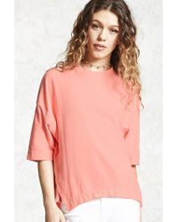 Forever 21 | Pink Boxy Drop Shoulder Top | Lyst