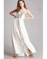 924159f98f5f Lyst - Forever 21 Soieblu Embroidered Maxi Dress in White