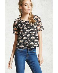 Forever 21 | Black Floral Shadow-stripe Mesh Top | Lyst