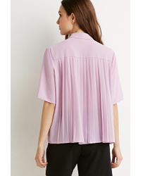 Forever 21 - Purple Contemporary Pleated-back Crepe Shirt - Lyst